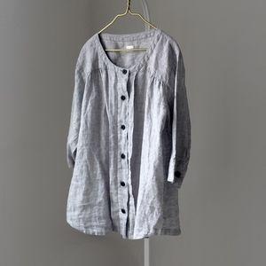 POETRY LINEN simple heather grey dress blouse